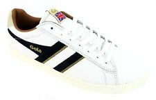 Gola Equipe Men's White And Navy Lace Up Football Inspired Leather Trainers New