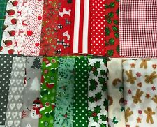 PolyCotton Christmas Fabric santa reindeer gingerbread scandi scotty snowflake