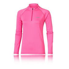 ASICS Essentials Damen Winter Funktionsshirt 1/2 Zip Langarm Laufshirt Rosa