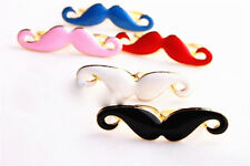 Ajustable gótico punk motero bigote doble anillo dedo 2 colores