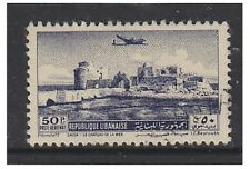 Lebanon - 1951, 50p Air - Sidon Castle stamp - Used - SG 443