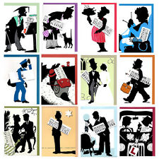 6 Special Occasion Cards with Greeting on Mini Newspaper EC0079