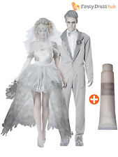 Mens Ladies Zombie Corpse Bride + Groom Halloween Fancy Dress Couples Costumes