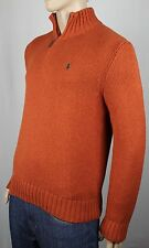 Polo Ralph Lauren Rust Orange 1/2 Half Zip Sweater Green Pony NWT