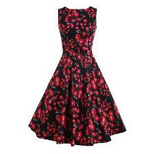 Womens Floral Swing Dress Vintage Style Retro Rockabilly Evening Party Dress
