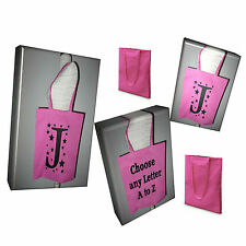 Foldable Shopping Bag Tote Bag Cotton Shopper with Bold Initial A to Z letter