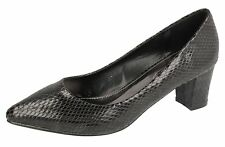 Ladies Spot On Black Snake Print Court Shoes F9807