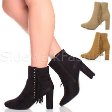 WOMENS LADIES HIGH HEEL FRINGE GOLD STUDDED ZIP ANKLE BOOTS BOOTIES SIZE