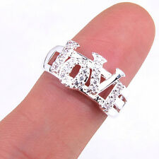 Brand New Women's LOVE Crystal  925 Sterling Silver Ring Size 7-7.5 Jewelry H848