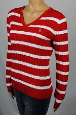 Ralph Lauren Red Cable Knit V-neck Sweater White LRL NWT