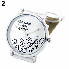 Fashion Charm Women Men Unisex Faux Leather Letters Analog Quartz Wrist Watch