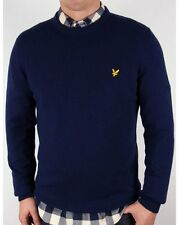 Lyle and Scott - Lambswool Crew Neck Jumper in Navy Blue