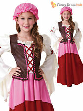 Girls Victorian Edwardian Wench Maid Medieval Costume Fancy Dress Kids Child