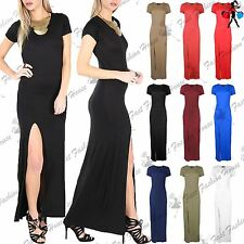 Womens Maxi Dress Ladies Short Sleeve Front Split Slit Split Long Top Plus Size