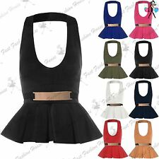 Womens Mini Dress Ladies Peplum Frill Bodycon Belted Sleeveless Halter Neck Top
