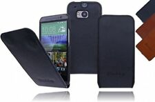 HTC One M8 Burkley Basic Real Leather Flip Case Pouch Cover Protective Case