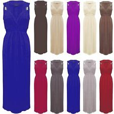 Womens Ladies Sleeveless Plain Flared Stretch Spring Coil Jersey Long Maxi Dress