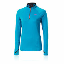 Mizuno Breath Thermo Damen Winddicht Funktionsshirt Laufshirt Jogging Top Blau