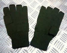 Quality Acrylic Black or Green Fingerless Gloves / Mitts Knitted cuffs  -  New
