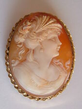 GOOD QUALITY, FINELY CARVED CAMEO PORTRAIT BROOCH, FULLY HALLMARKED 9CT GOLD