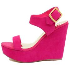 LADIES DOLCIS PINK FUCHSIA WEDGE PLATFORM SANDALS PEEP-TOE SHOES PUMPS SIZES 3-8