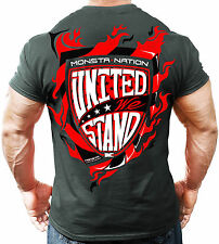 Monsta Clothing Bodybuilding United We Stand Ultra Soft Workout T Shirt Mens New