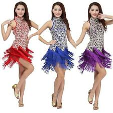 Lady Latin Salsa Tango Cha Cha Ballroom Competition Sequined Tassels Dance Dress