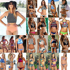 Damen Padded Bandage Bikini Set Tankini Crop Tops Bademode High Neck Badeanzug