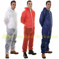10 x Non-Woven Disposable Coveralls Overall Boilersuit Work Hood Painters Suit