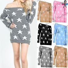 Womens Seeing Star Knitted Sweater Off The Shoulder Ladies Oversized Jumper Top