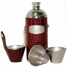 8oz Brown/Croc Leather Hunters Flask with Cups by Bisley Shooting Camping Walkin