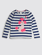 Bnwt Marks & Spencer Girls Navy/White Striped Top with appliqué Dog 4-5-6yrs