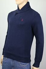 Polo Ralph Lauren Navy Blue Shawl Collar Sweater Suede Elbow Patches NWT $125