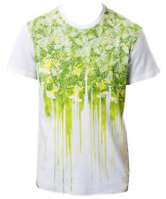 T-shirt Cavalli White Men Uomo maglietta i44 crew neck flower acid green