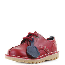 Boys Kids Kickers Kick Reverse Leather Dark Red Lace Up Casual Shoes Sz Size