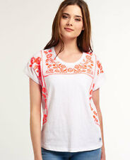 New Womens Superdry Folk Floral T-shirt Optic White