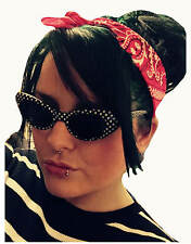 50s POLKA DOT CATS EYE SUNGLASSES + BLACK PINK SKULL BANDANA SCARF HEADBAND SET