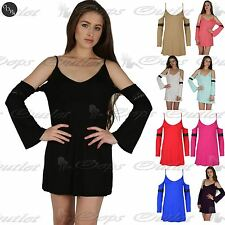Womens Cold Open Drop Shoulder Tunic Dress Ladies Bell Sleeve Lace Strappy Top