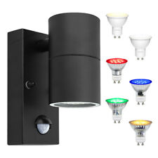 3W Coloured LED Black PIR Single Outdoor Wall Light Movement Sensor Garden Light