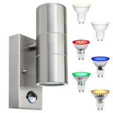 6W LED Coloured Stainless Steel Up Down Outdoor Wall Light PIR Movement Sensor