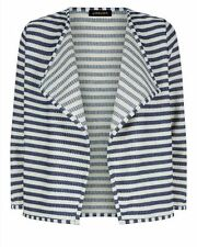 Jaeger Waterfall Textured Stripe Cardigan Size Small BNWT RRP £80 Blue/White