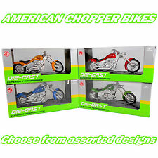 "6"" AMERICAN CHOPPER MOTOR BIKES Die-Cast /w Plastic Parts - Assorted Colours"