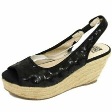 LADIES BLACK SEQUIN HESSIAN WEDGE PLATFORM PEEP-TOE SANDALS SHOES SIZES 3-8