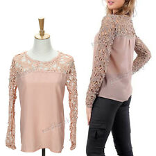 Stylish Ladies Womens Chiffon Lace Crochet Long Sleeve Shirt Casual Blouse Tops