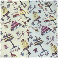 AFTERNOON TEA PARTY 100% cotton fabric  sold per fat quarter half metre or metre