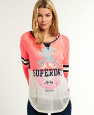 New Womens Superdry Mix Mash Top Fluro Coral