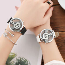 Leather Band Stainless Steel Sport Analog Quartz Women Mens Wrist Watch