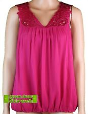Ted Baker Mujer Rosa Oscuro seda LACE FRONT Blusa Sin Mangas Top 6 8 10