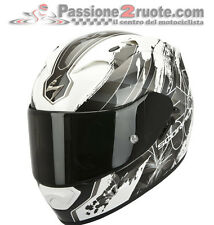 Casco integrale Scorpion Exo 1200 air Lilium bianco nero moto air pump doppia D