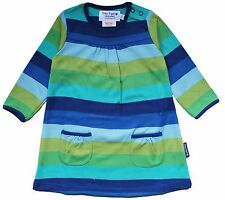 **SALE**Lovely Toby Tiger Organic Cotton Jersey Blue and Green Stripe Dress
